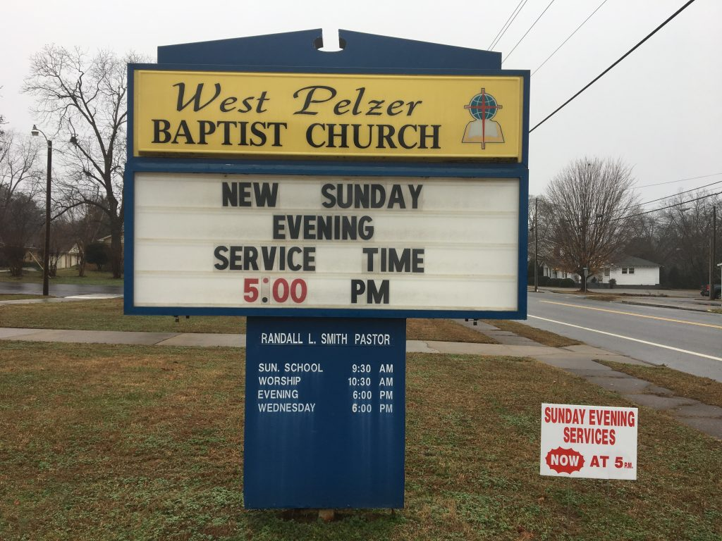 New Sunday Evening Service Time   West Pelzer Baptist Church